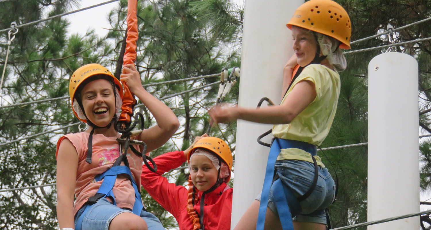 Yr 7 Genesis students enjoy the challenge of the high ropes course at Luther Heights